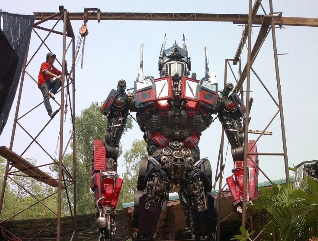 Optimus Prime Made From Car Parts In Thailand L