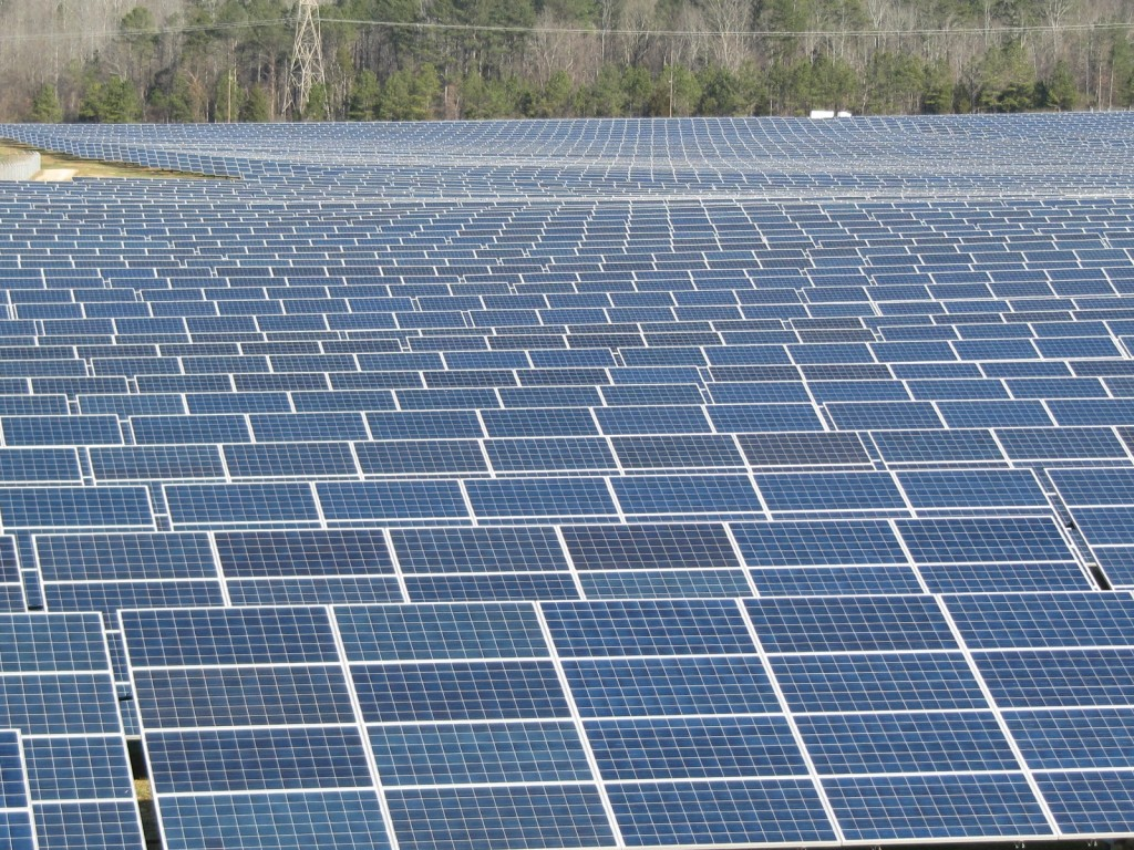 Photovoltaic solar power field at Volkswagen plant in Chattanooga, Tennessee