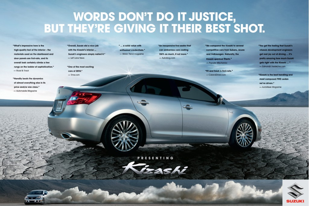 Print ad for the 2011 Suzuki Kizashi