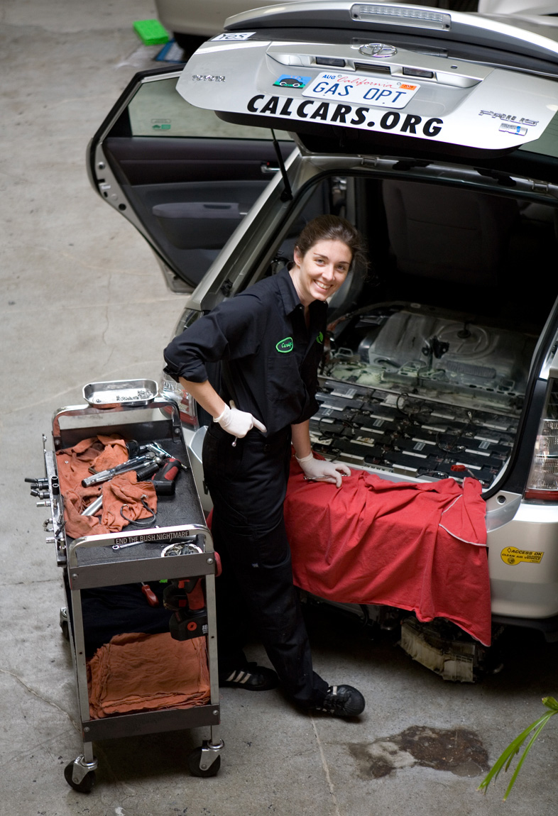 Prius mechanic Carolyn Coquillette photographed by Sarah Lyon