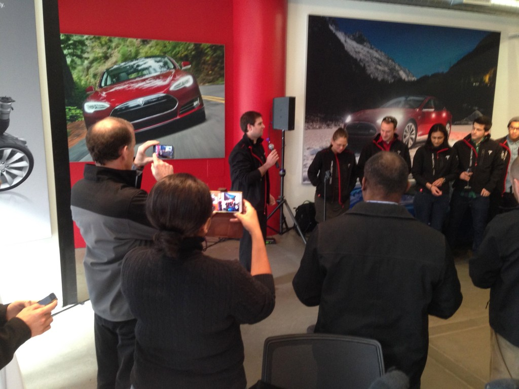 Reception at Tesla Store in New York Ciy following cross-country road trip in Model S electric cars