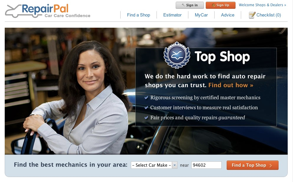 RepairPal Top Shop Network  -  mechanics with high customer satisfaction