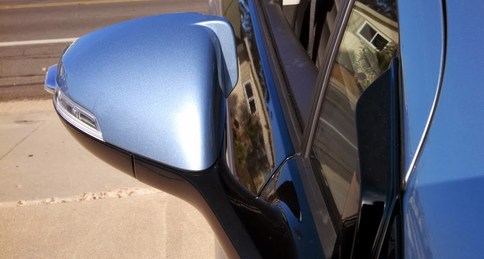 Replacement mirror with aero winglets, black window-trim air deflector for Chevrolet Volt [EV World]