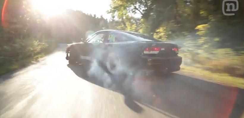 Ryan Tuerck drifts up a pristine mountain road