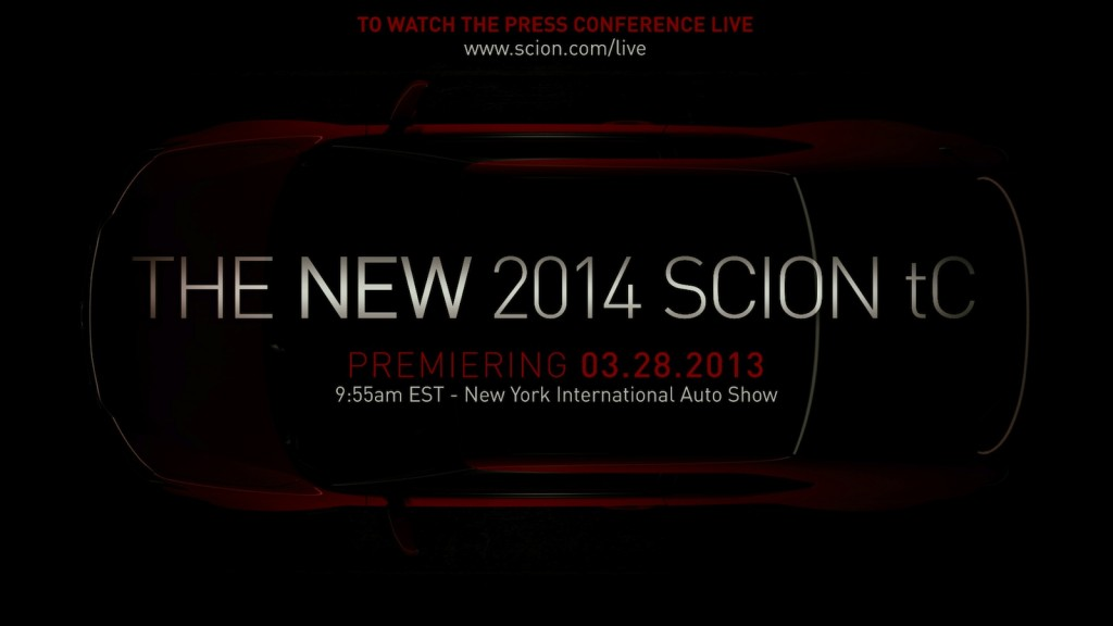 Scion teases the 2014 tC, to be revealed at the 2013 New York Auto Show