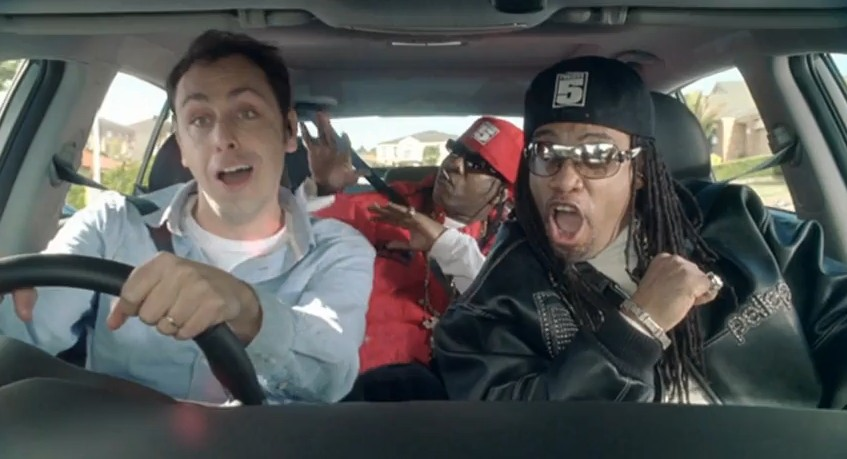 Screencap from Australian Kia Sportage ad with Grandmaster Melle Mel and Scorpio