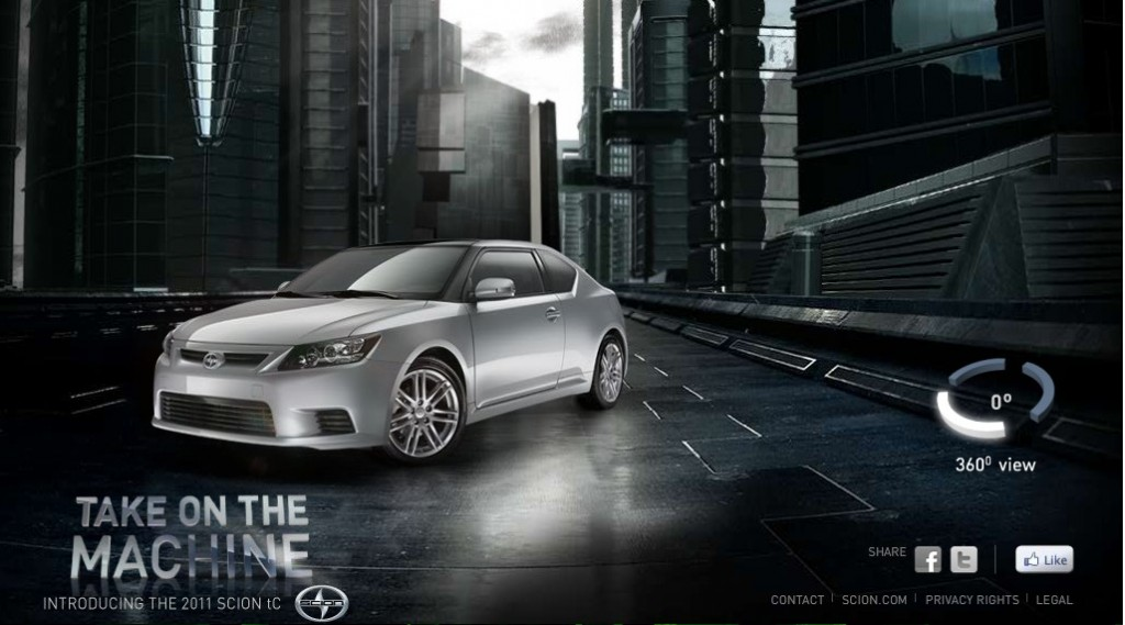 Screenshot of the Scion tC 'Take on the Machine' microsite