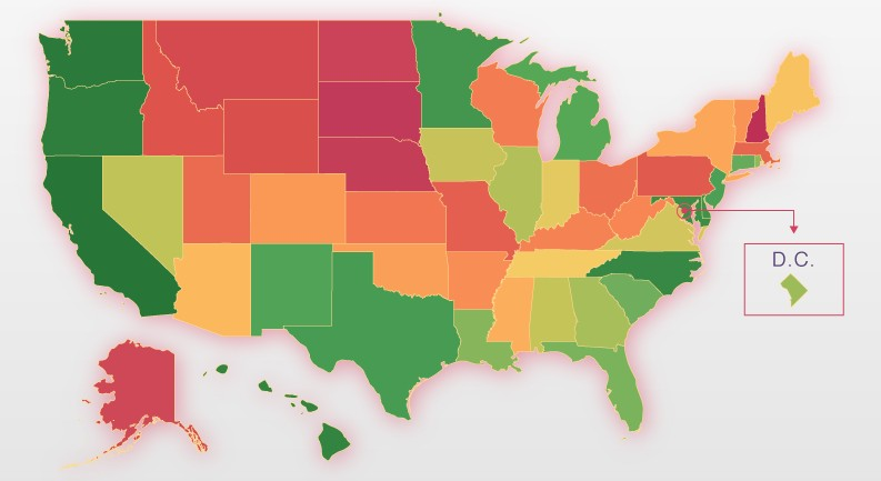 The states that do (and don't) like to use seatbelts