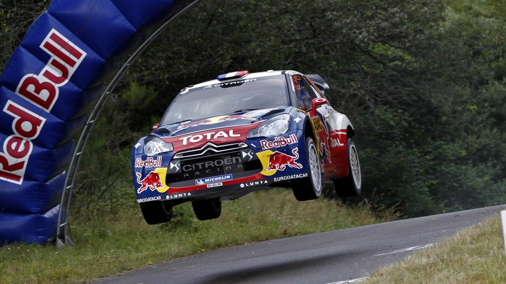 Sebastien Loeb and Daniel Elena in a Citroen DS3 WRC car in 2012
