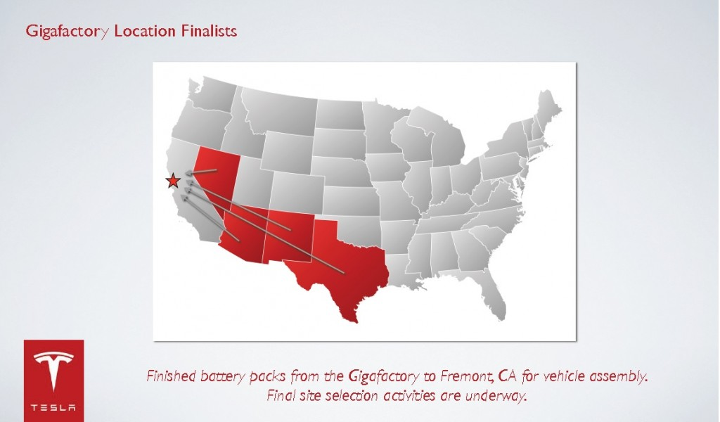 Slide showing candidate states for Tesla Motors gigafactory, from Feb 2014 presentation