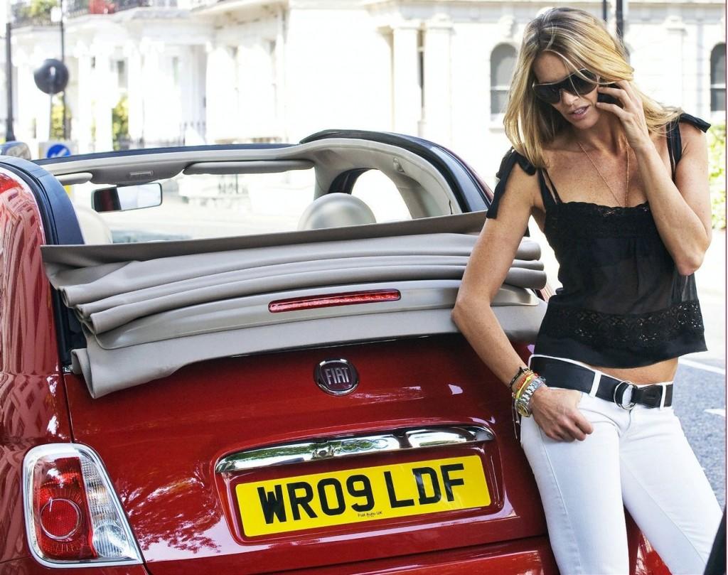 Supermodel Elle MacPherson with Fiat 500C in London