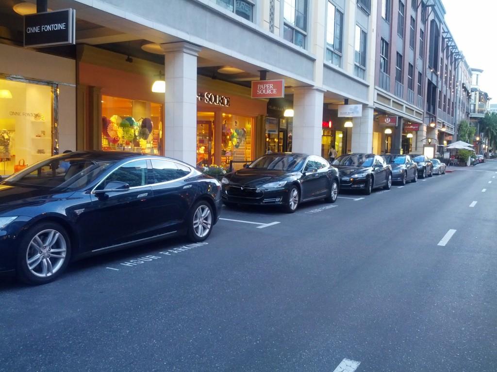 Tesla Model S cars parked on Santana Row, San Jose, CA, April 2013 [photo: Anton Wahlman]