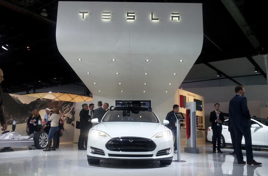 Tesla Motors stand at 2014 Detroit Auto Show