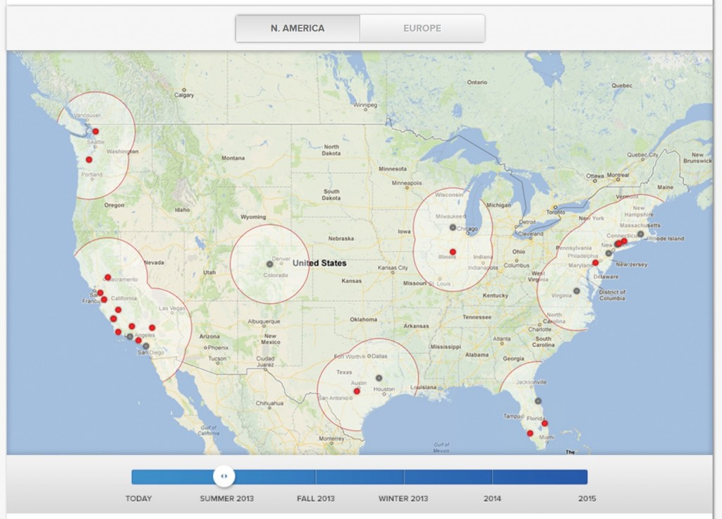 Tesla Motors Supercharger network in Summer 2013 - map as of Sep 10, 2013