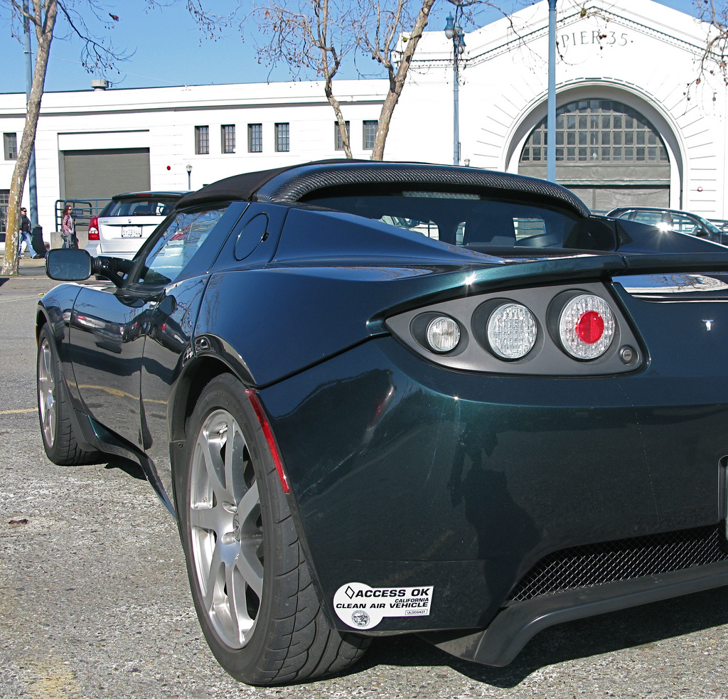 Tesla Roadster with CA Clean Air Vehicle sticker  --  flickr user jurvetson