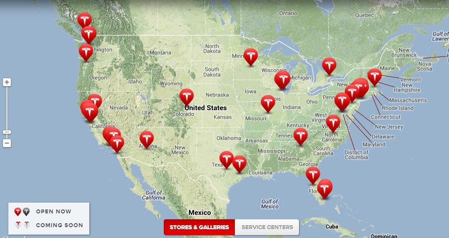 Tesla stores and galleries in the U.S. (as of 10/9/2013)