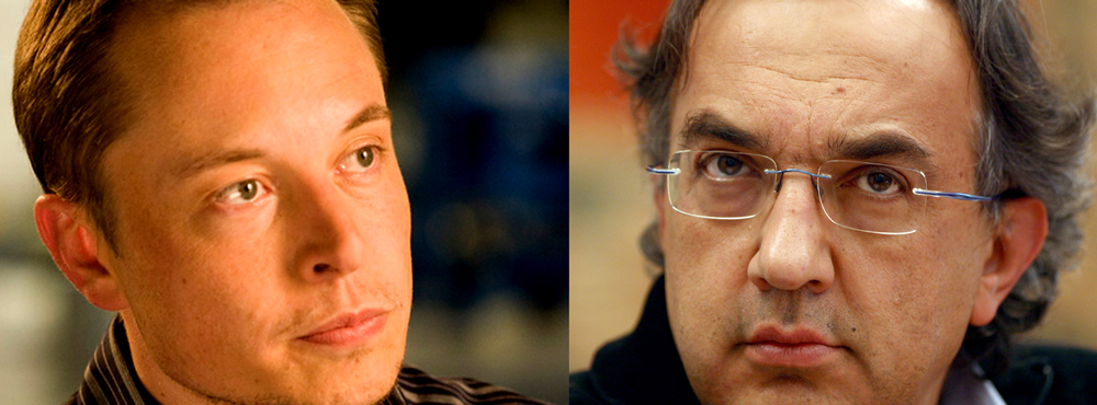 Tesla's Elon Musk and Chrysler/Fiat's Sergio Marchionne