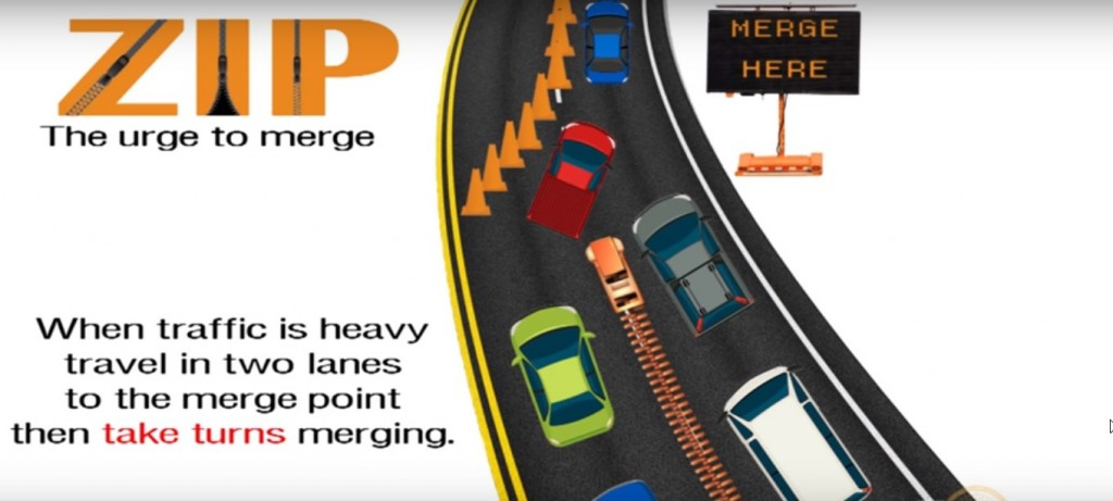 What's the best way to merge when a lane closes? Use 'The Zipper'
