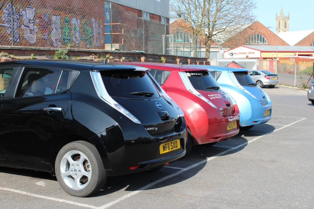 Three Nissan Leafs
