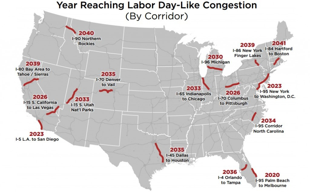 Traffic projections, U.S. Travel Association