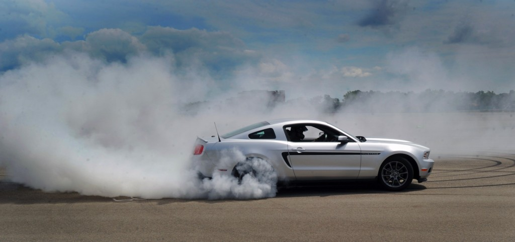 Vaughn Gittin Jr demonstrates a proper burnout - image: Ford Motor Company