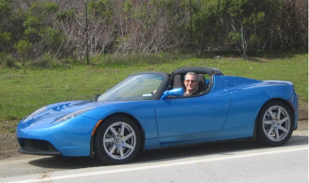Voelcker in Tesla Roadster