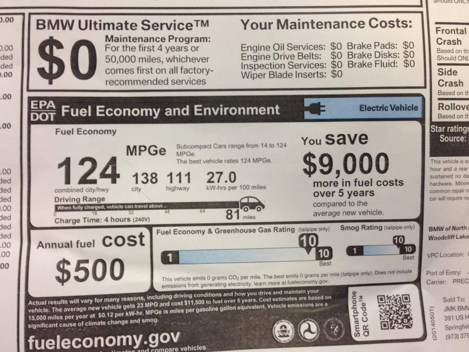 Window sticker from 2014 BMW i3 battery-electric car, showing EPA ratings  [photo: Tom Moloughney]
