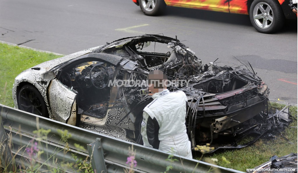 2017 Acura NSX prototype burns at the Nürburgring - Image via S. Baldauf/SB-Medien