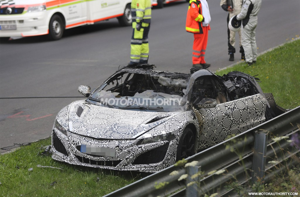 Wreckage of a 2016 Acura NSX prototype that caught fire