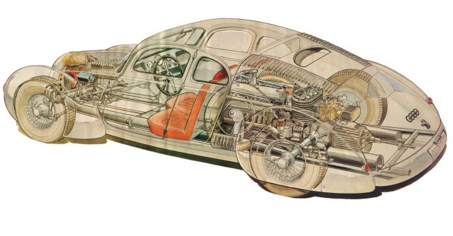 1934 Auto Union Type 52 engineering sketch