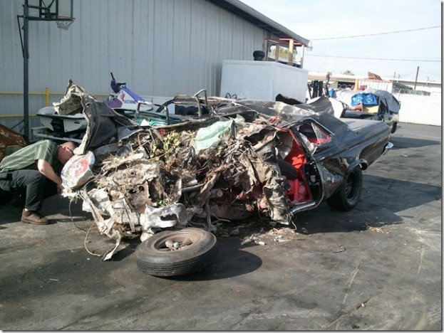 1965 Plymouth wrecked at 150 mph. Images via Arcadia PD.