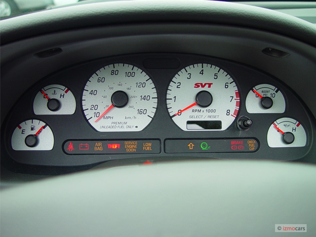 Ford Transit Warning Lights >> Image: 2003 Ford Mustang 2-door Convertible SVT Cobra 10th Anniv Instrument Cluster, size: 640 x ...