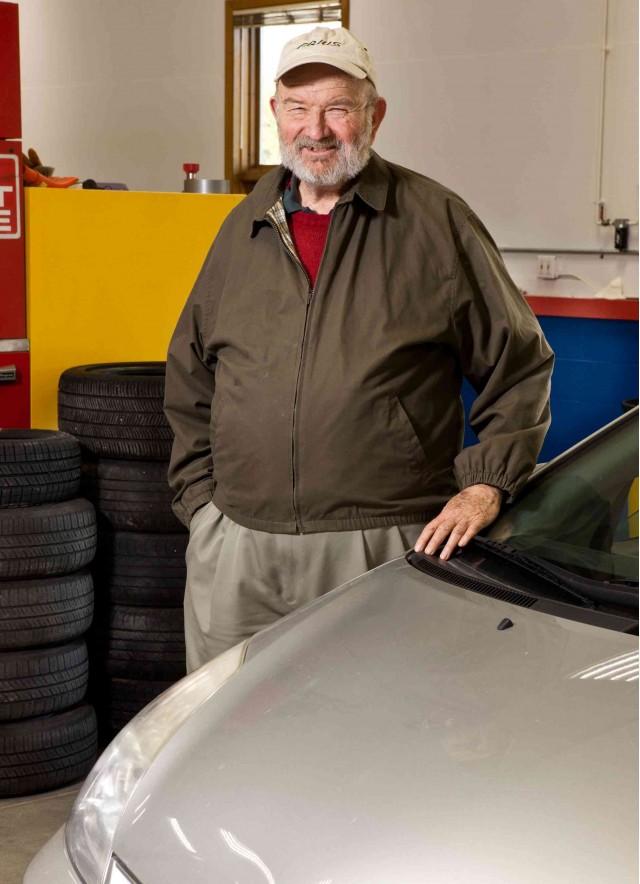 Antony Frey with his 2004 Toyota Prius, Spring 2011, photo courtesy Consumer Reports