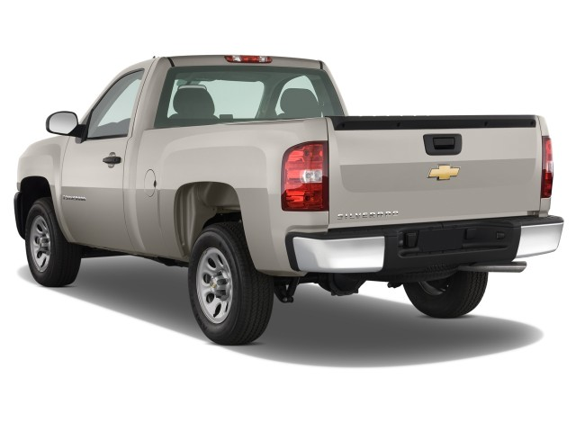 image 2008 chevrolet silverado 1500 2wd reg cab 133 0 work truck angular rear exterior view. Black Bedroom Furniture Sets. Home Design Ideas