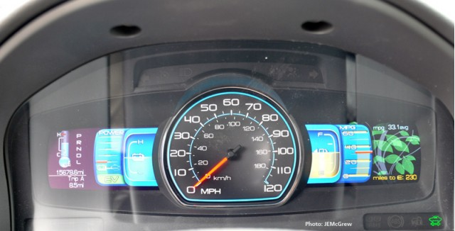 2010 Ford Fusion Hybrid SmartGauge with EcoGuide-- Shows the green vines growing to symbolize the driving economy.