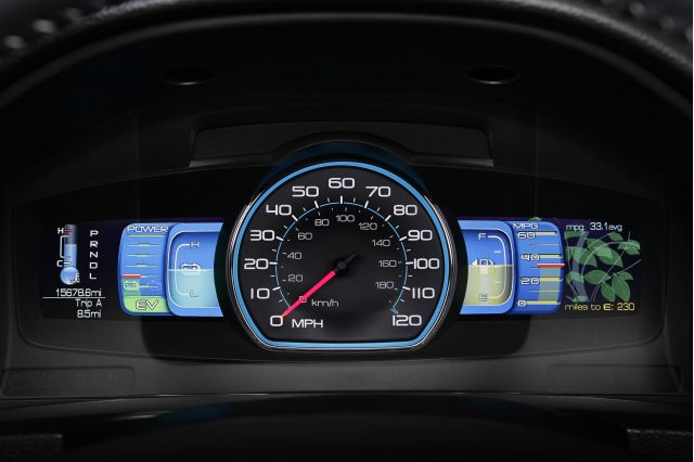 2010 Ford Fusion Hybrid: The Ford Fusion Hybrid combines second-generation hybrid technology, class-leading styling and features along with the class-exclusive SmartGauge with EcoGuide instrument panel to help customers achieve maximum fuel economy in a sporty package. (11/19/08)