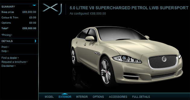 The site allows you to fully customize both the exterior and cabin of the upcoming XJ sedan