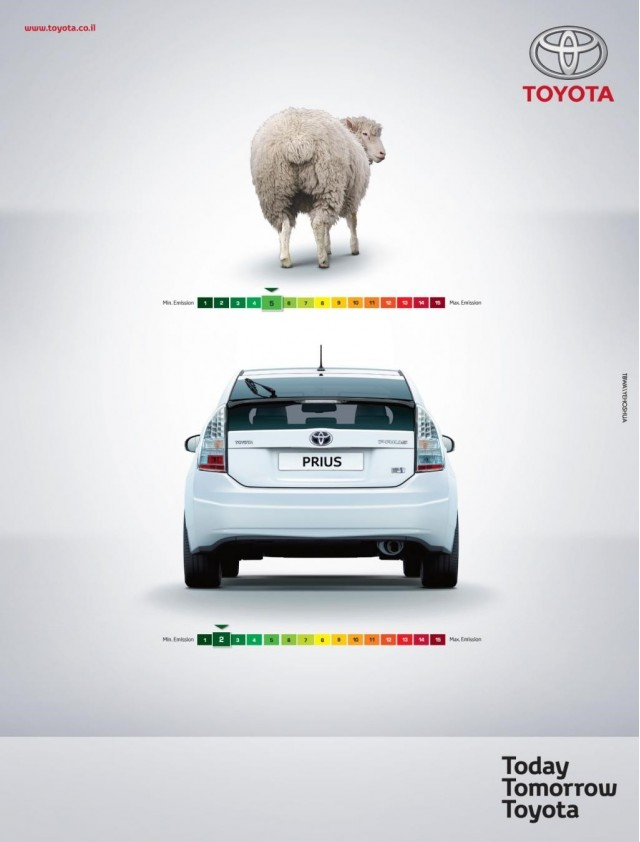 2010 Toyota Prius ad comparing its emissions to those of a sheep