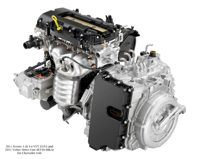 1.4-liter range extending engine and Voltec drive unit on 2011 Chevrolet Volt