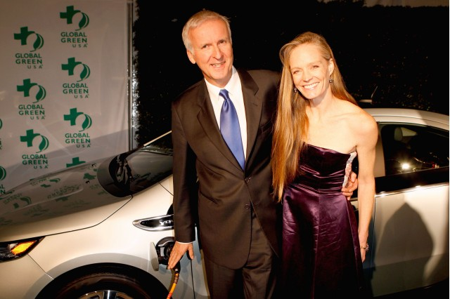 James Cameron, Suzy Amis with 2011 Chevy Volt at Global Green Pre-Oscar Party, Feb 2011