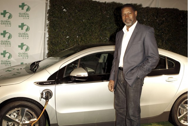 Dennis Haysbert with 2011 Chevy Volt at Global Green Pre-Oscar Party, Feb 2011