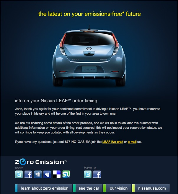 2011 Nissan Leaf delay email