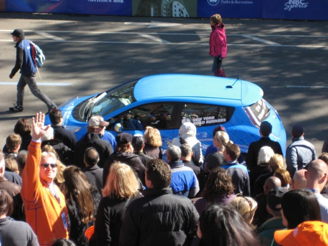 2011 Nissan Leaf electric car at NYC Marathon, Oct 2010