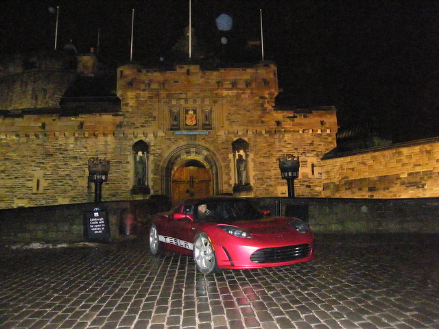 David Peilow and the 2011 Tesla Roadster Sport 2.5 arrives in Edinburgh 18 hours after leaving London on epic 400+ mile trip