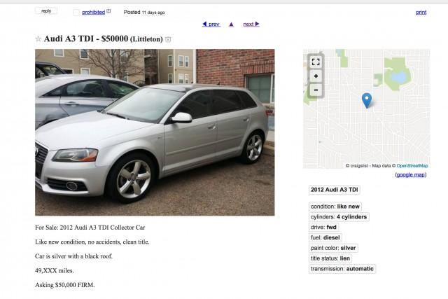 2012 Audi A3 TDI online ad