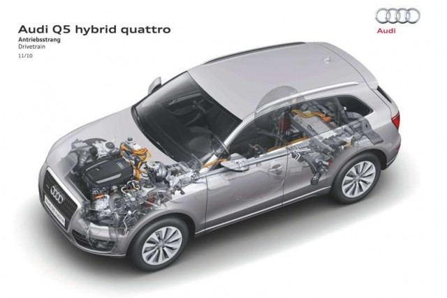 Cutaway of new Audi Q5 Hybrid