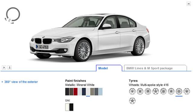 2012 BMW 3-Series online configurator