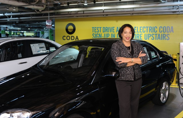 "First delivery of 2012 Coda Sedan, at Coda Los Angeles, to buyer ""Carmen,"" March 2012"