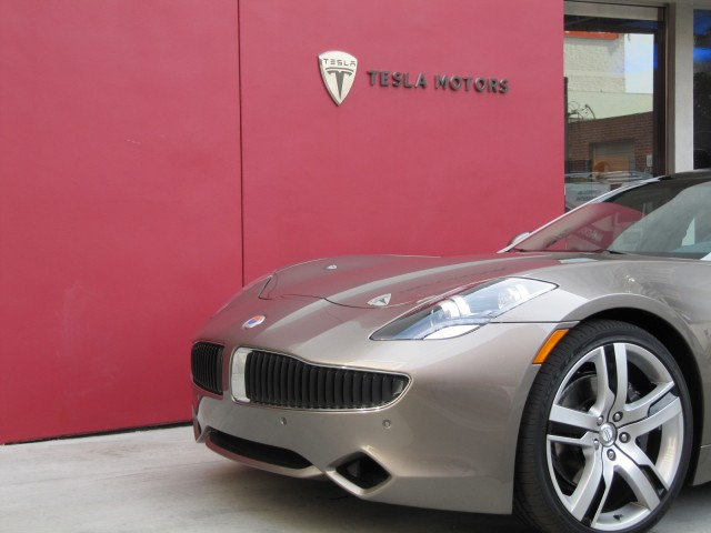 2012 Fisker Karma outside Tesla Motors dealership during test drive, Los Angeles, Feb 2012