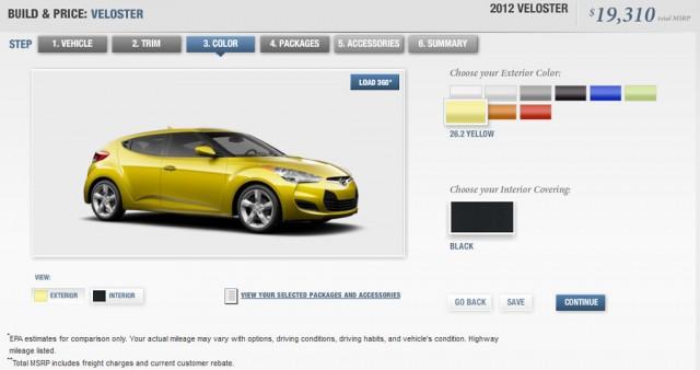2012 Hyundai Veloster online configurator